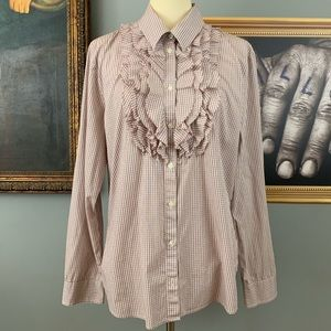Banana Republic Ruffled Button Down Cotton Top
